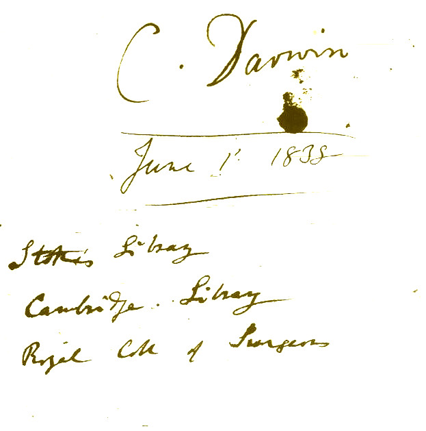 Inside the front cover of Darwin's 1830s reading notebook