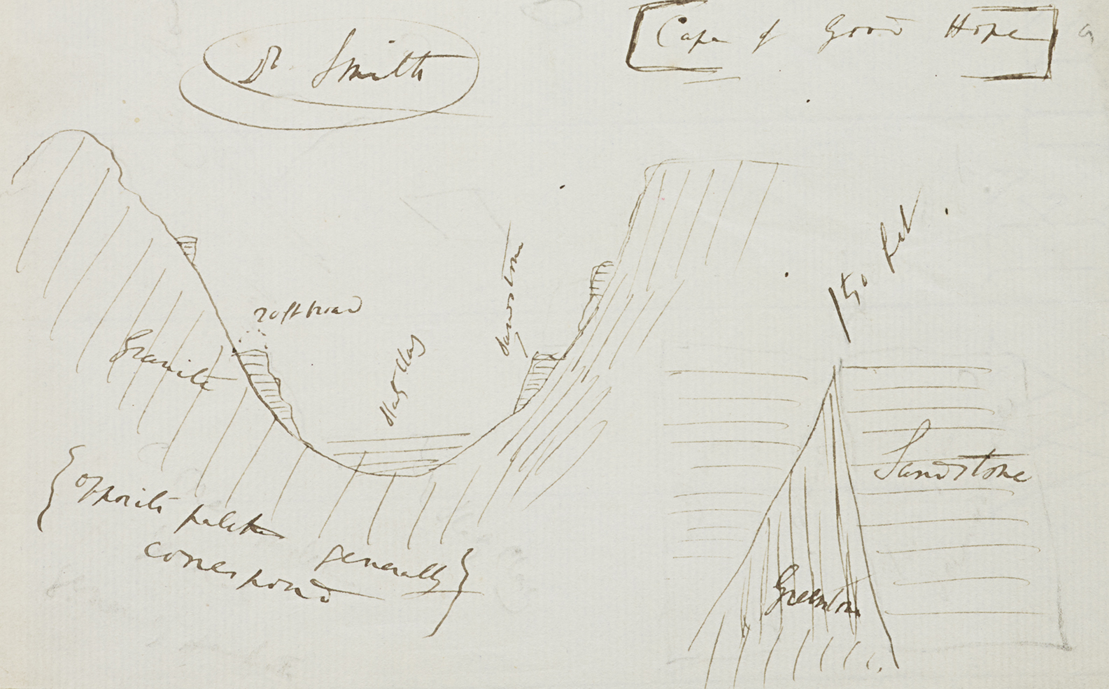 One of Darwin's annotated geological drawings