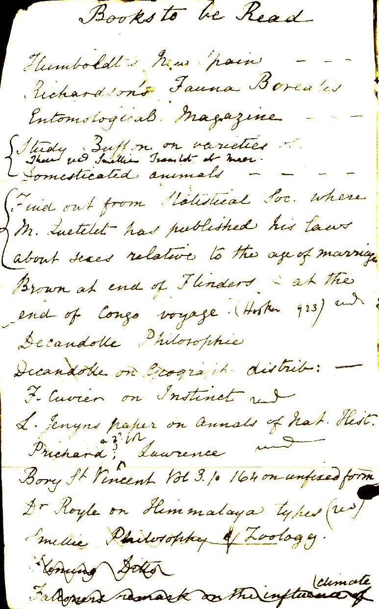 Darwin's reading notebooks